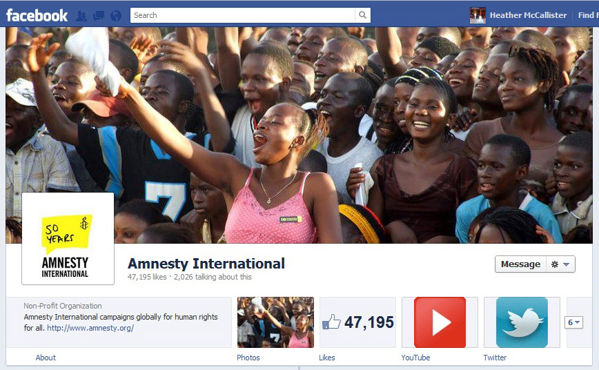 Amnesty International's new Timeline Facebook page.